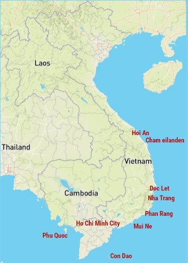 backpack routes voor Vietnam