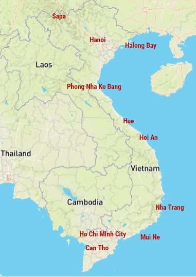 een route langs de hoogtepunten van Vietnam