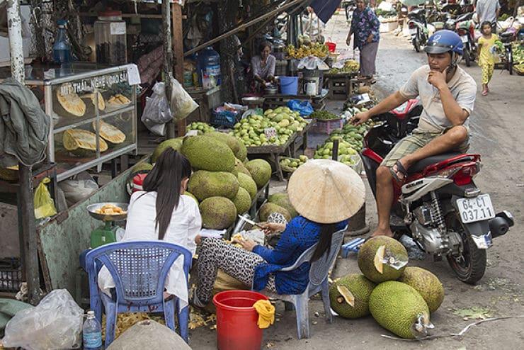 Een fruit markt in Vietnam