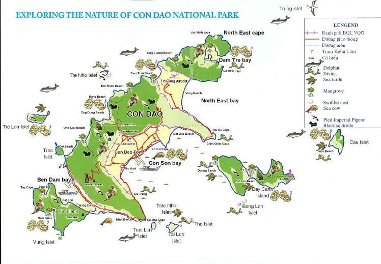 Een kaart van de Con Dao eilanden