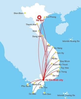 Het uitgebreide netwerk binnenlandse vluchten met Vietnam airlines