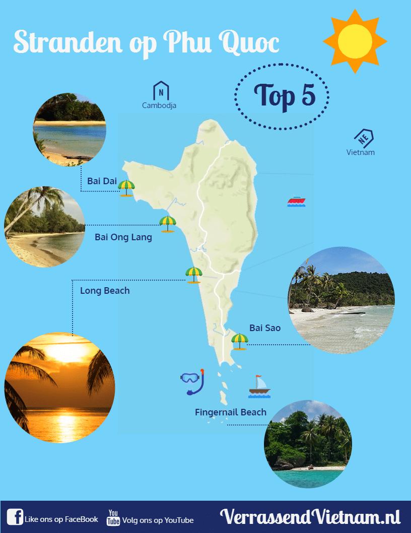 infographic met de beste stranden op Phu Quoc