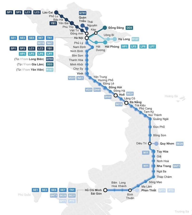 trein trajecten in Vietnam