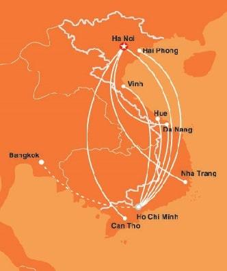 De binnenlandse vluchten in Vietnam met jetstar pacific