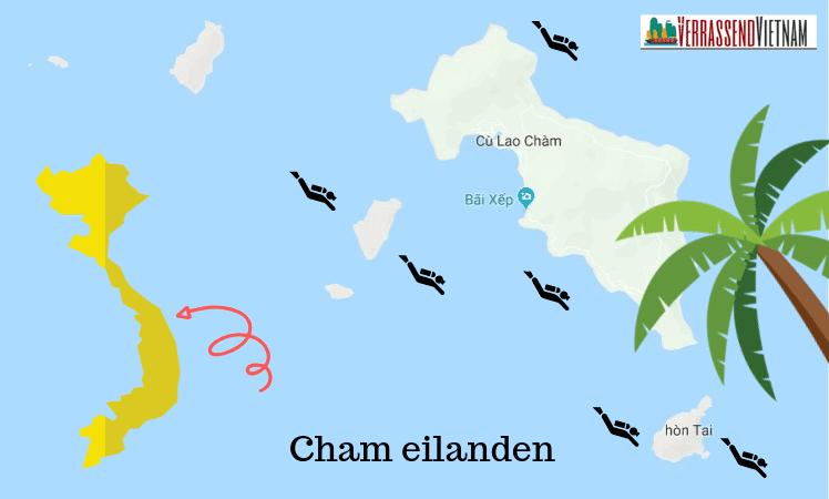 kaart van de cham eilanden
