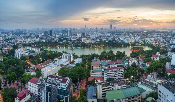 Het Hoan Kiem Meer van boven gezien